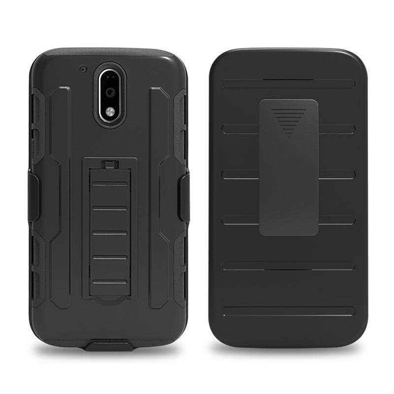 Hybrid Rubber Gugged Shockproof Belt Clip Holster Case For Motorola Moto G4 / G4 Plus