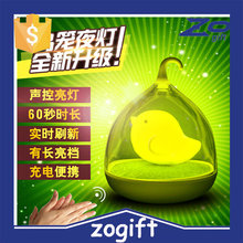 ZOGIFT Touching-sensitive control night lamp and LED USB Bird cage rechargeable night light for kids gift