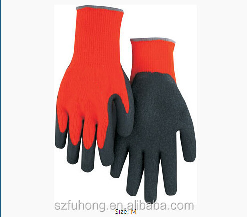 High Visibility Red Heavyweight Winter / Freezer Terry Glove with Latex Palm