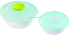 DD large plastic 3pcs set mixing bowl with round knob lid