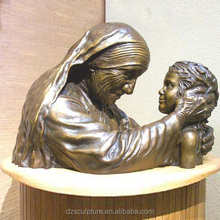 famous female figure bust sculpture of mother teresa with child