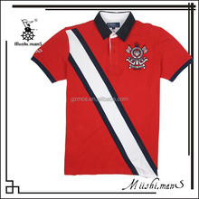 custom made cotton embroidered color combination polo shirts