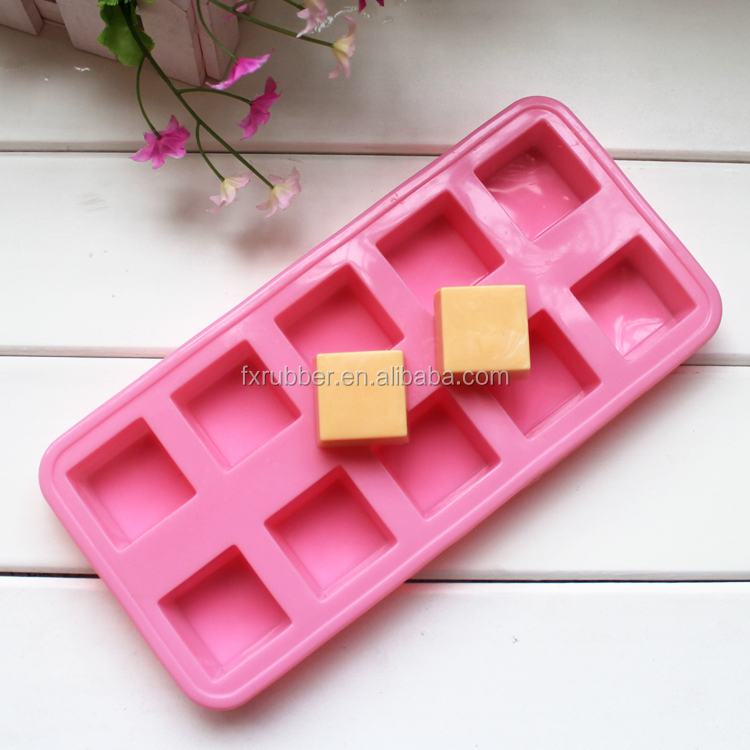 Hot 2015 food grade 10cavities 7x6x2.5cm nonstick rectangle soap mold <strong>silicone</strong>