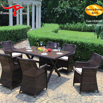 Outdoor Patio Rattan Dining Furniture Garden Wicker Table and Chair Set