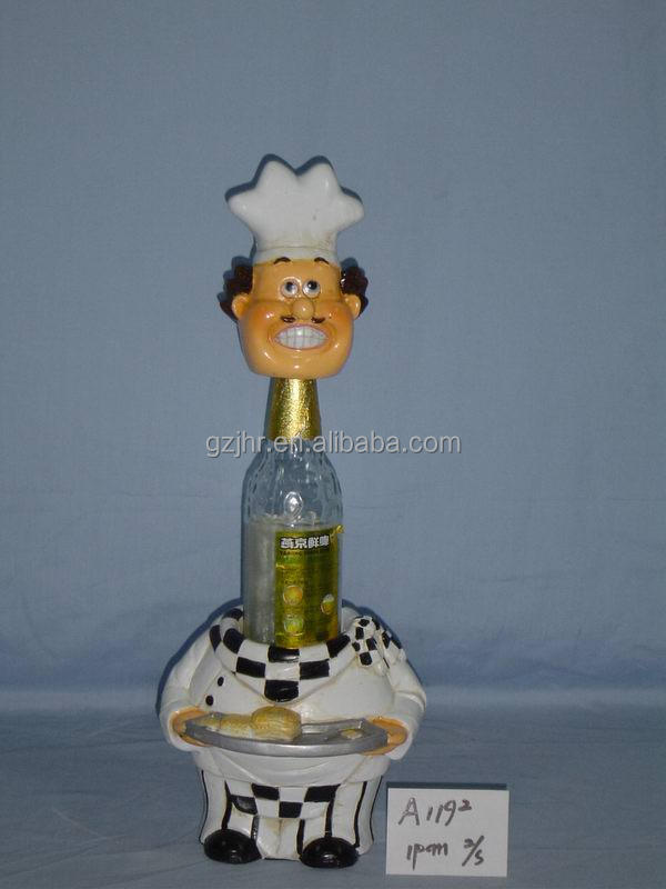 Decorative poly resin chef wine bottle holder craft