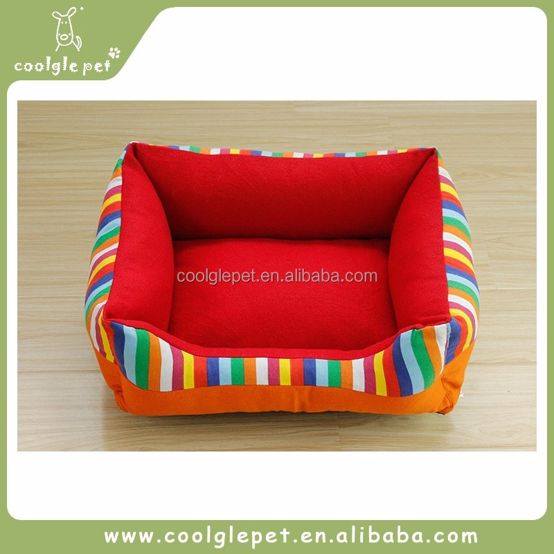 High Quality Square Colorful Print Canvas Bedding Accessories Pet Red Bed Dog Bed