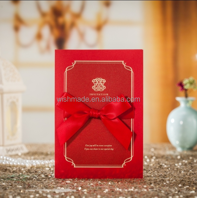 WISHMADE Lace Chinese Red Wedding Invitation Cards Holder Wedding With Red Envelope CW7021