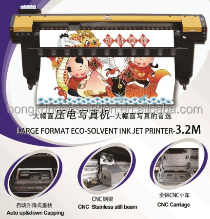 Ecosolvent printer on 2 DX8 print heads 3.2m print wide 6 colors CMYK LC LM 6400usd price