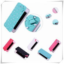 5 Colors Pearl Bow PU Leather Mobile Phone Flip Cover Wallet Case For iphone 5 5S