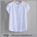 Latest styles wholesale price fashion ladies Blue Striped Collarless Contrast Eyelet Embroidered Lace Petal Sleeve Blouse
