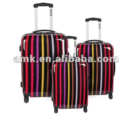 stripe print PC flight luggage
