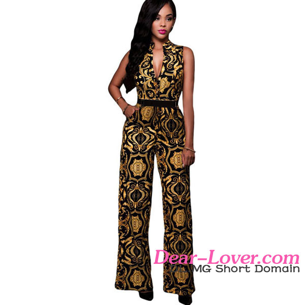 Black Yellow Tapestry Print Belted Evening Jumpsuits for Women 2016 Sexy