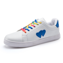 fashion casual sneakers women love heart Lace Up Soft Comfort Ladies blue heart shoes