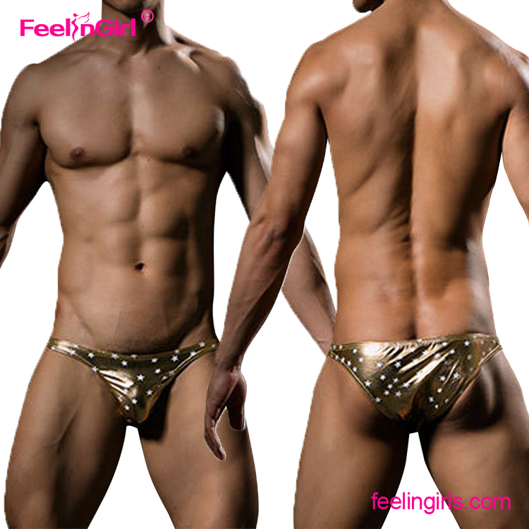 Drop Shipping Golden Low Waist Star Printed Mens Thong Panties G String