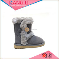 Best price gray cow suede bailey button fur winter snow child boot made in China
