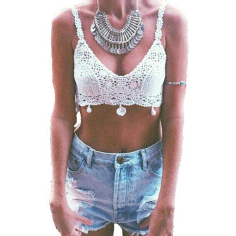 dbf3fca17b01c Get Quotations · Women Crochet Knitted Sleeveless Hollow out Crop Top  Tassel Camis Bralette Sexy Vest 2015 Summer Fashion