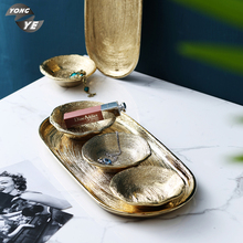 Luxury desktop cosmetics container elegant electroplate ceramic <strong>plate</strong> for jewelry