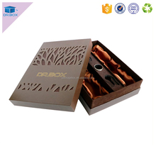 New rigid wine box with window grill design / Leather Wine Carrier for laser logo wine box