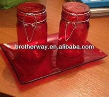 250ml airtight red glass spice jar with clamp lid