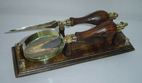 Brass & Wood Made Desk Set, Beautiful Magnifier & Paper Knife With Stand, Item number Sai-2134