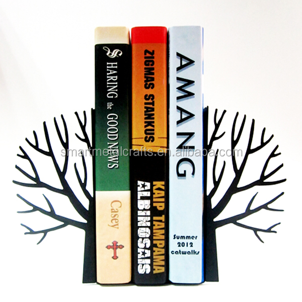 Tree shaped metal bookends Laser cut metal bookstand