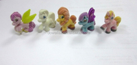 Promotional gifts toy flocking small plastic pvc pony for kids