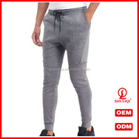Men grey tapered bottoms joggers track pants 65%cotton 35% polyester blank sweatpants