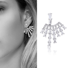 Silver Plated High Quality AAA Cubic Zirconia Geometric Ear Clip Earrings for Women