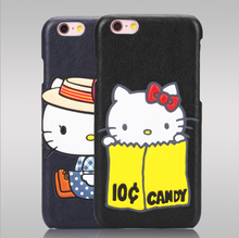 Eco friendly fashion cartoon sticker 3d hello kitty sublimation leather back case phone cover kuti phone case for iphone 6 6s