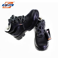 high ankle black leather iron steel work industrial safety shoes winter