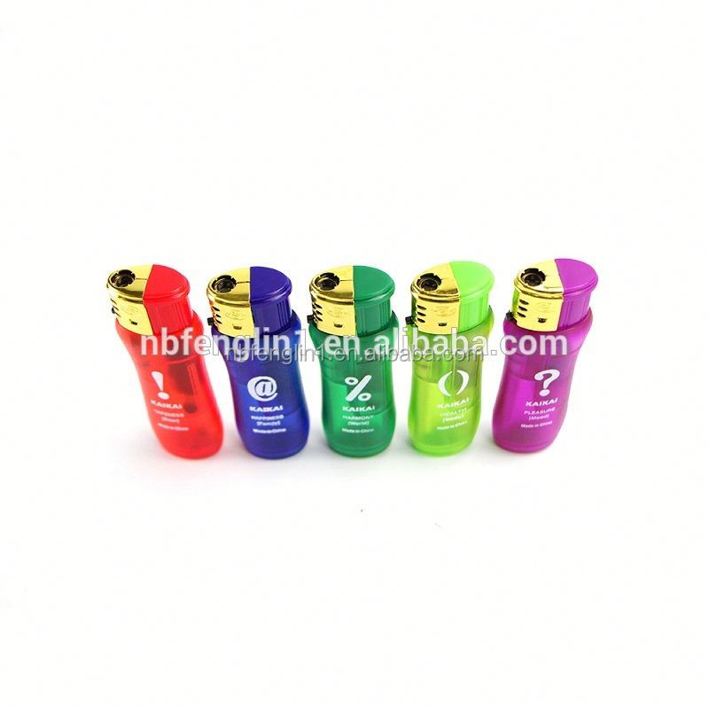 Refillable transparent Cute Shape Candy colors Butane gas Plastic flint electronic piezo lighter parts