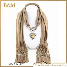 Main product custom design gemstone pendant scarf with good price