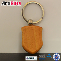 wholesale fashion key shaped key ring wood