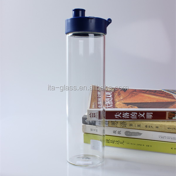550ml lead free promotional outerdoor travel drinking glass mineral water bottle hand made glass water bottle with plastic straw