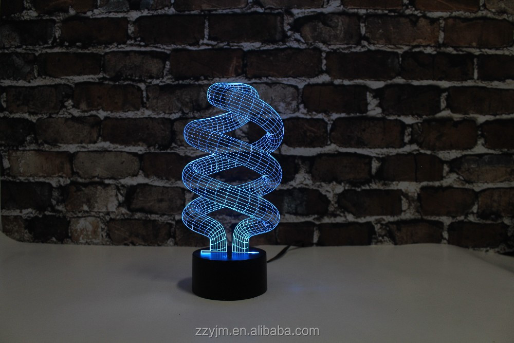 Free Shipping, YJM-2898,3D Abstract Helix LED, 3D LED Decorated Colorful Nightlights, Table or Bed Lamp with Touch Control
