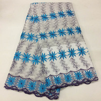 Wholesale high quality embroidery lace Nigerian hot selling rhinestones heavy lace royal blue Swiss voile lace Austria