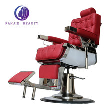 Hot sale synthetic leather cast iron beauty salon furniture luxury heavy duty salon chair red vintage barber chair