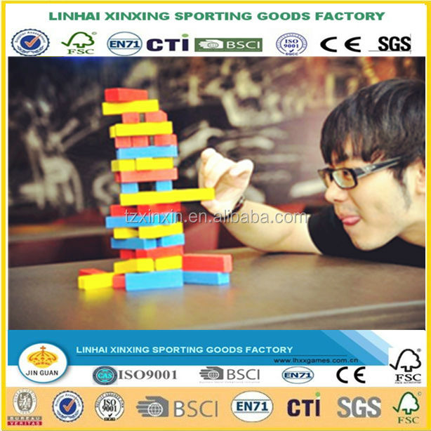 Wooden Board Games Tumbling Tower Building Blocks for Kids - 54 pieces