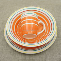 factory new design round color circle 12pcs stoneware dinnerset 12 pcs ceramic dinnerware set