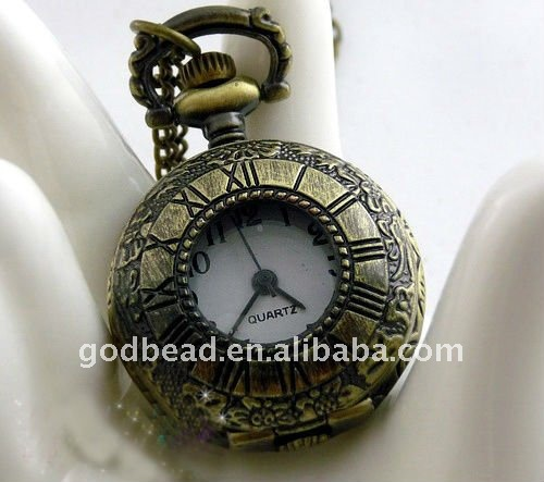 W222 wholesale Antique brass bronze pocket watch chain charm pendant watch necklace nickel free lead free