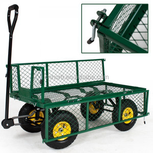 Double Layer Fold Down Sides Flatbed Mesh Rolling Garden Trolley Cart