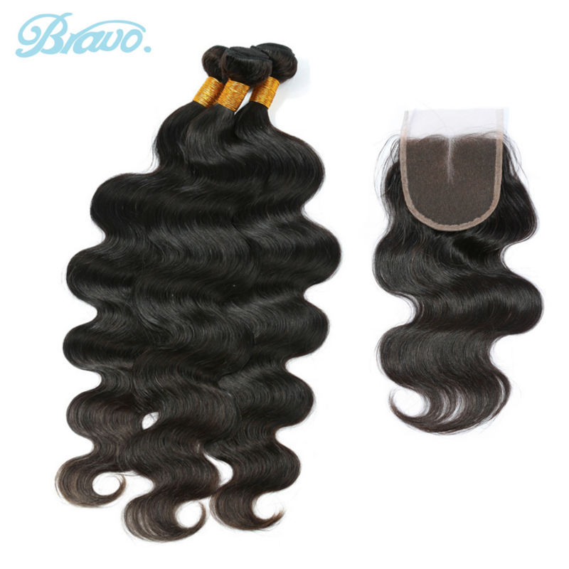 3Pcs Body Wave Peruvian Hair Bundles with Middle/Free Part Lace Closure 7a Unprocessed Virgin Hair Bravo Human Hair Bundle Deal