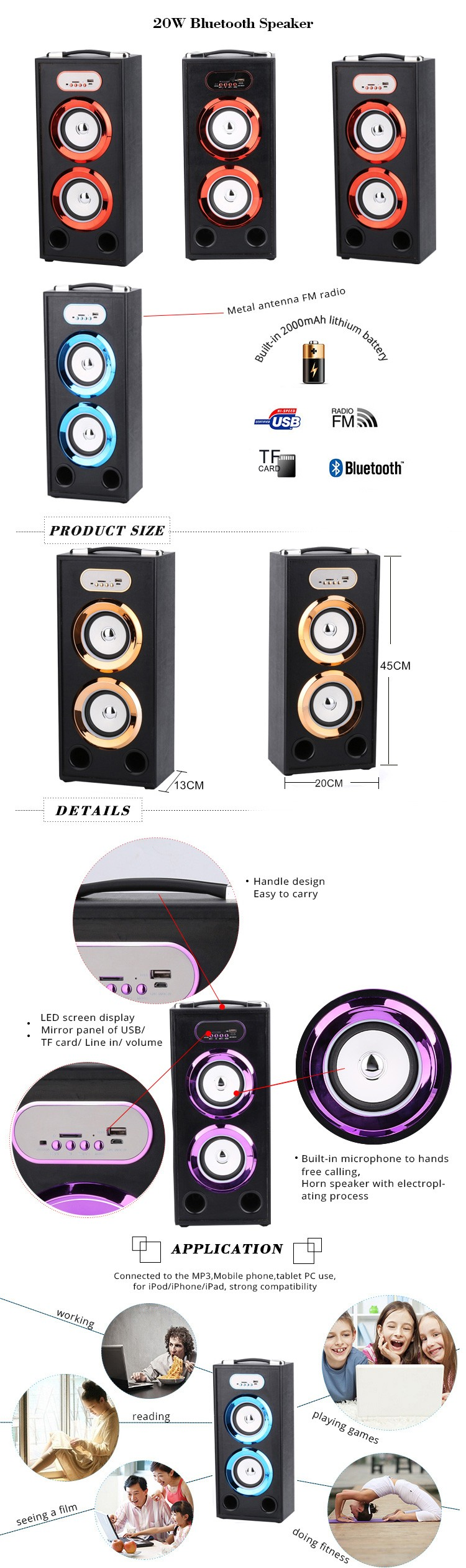 BBQ KBQ-164A 20W 2000mAh 2018 Professional Bluetooth Speaker Wireless