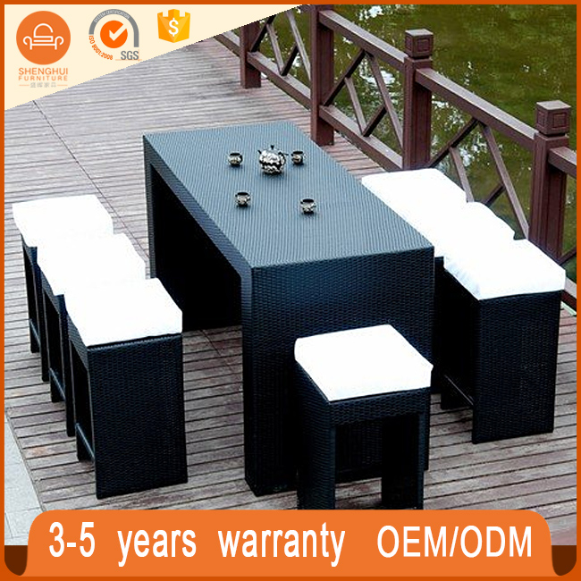 new fashion rectangle outdoor rattan furniture high bar tables and chairs for sale
