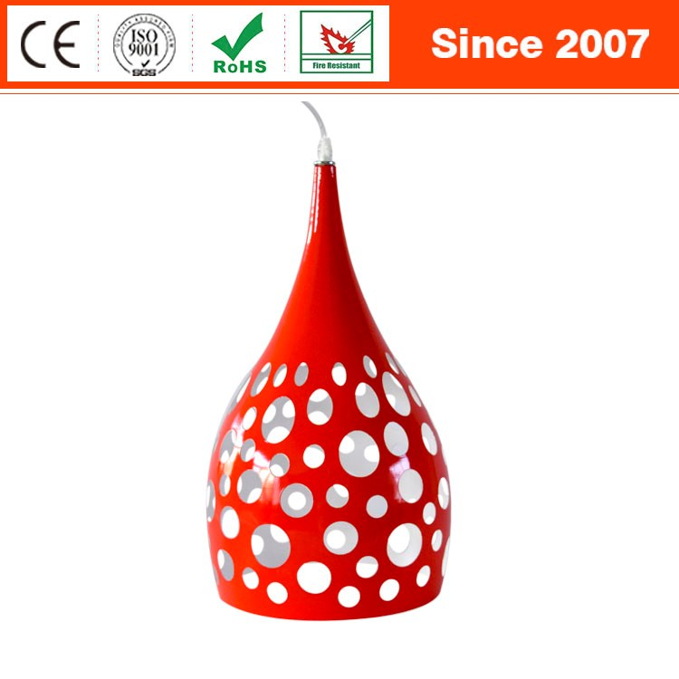 Polished product baking red paint hollow out metal pendant lamp