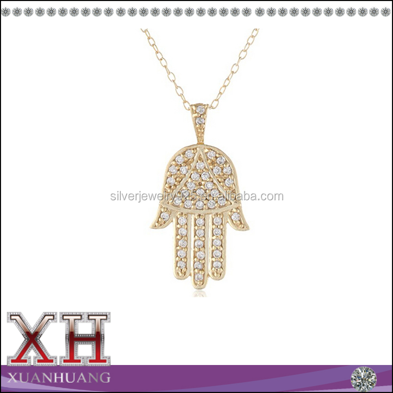 18'' 18K Gold Plated Pendant Necklace Called Hand Of God With CZ In 925 Sterling Silver