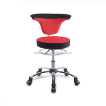 New Red/Black Swivel Bar Stool, 360 Degrees Rotating Stool, Wheels Stool with Backrest