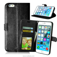 Classic Black Wallet Flip Leather Case For IPhone 6 6S phone Bag