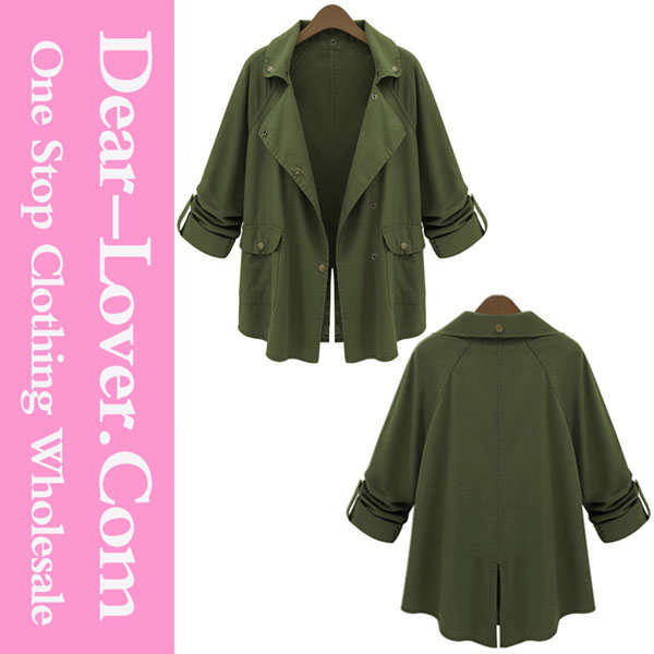 Women's clothing 2015 Army Green Lapel Collar Fashion shearling coat women