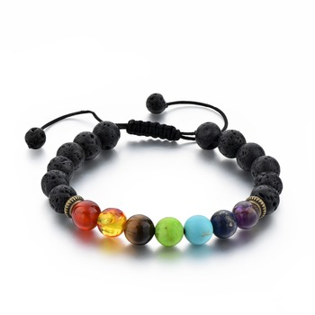 Hot Selling Black Lava Rock 7 Chakra Stone Beads Bracelets Essential Oil Stone bracelet